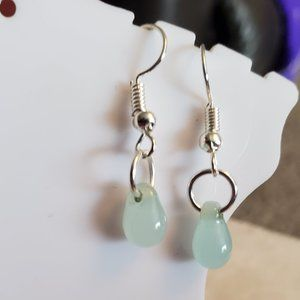 Silver Tone Hook Pale Blue Glass Bead Earrings NWT
